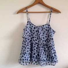H&M light blue ruffled top with cheetah spots H&M light blue ruffled tank-top with navy blue cheetah spot Polk-a-dots. Size 4, which fits like a small. Only flaw is that the strap broke and has been tied back on. Bundle to save! H&M Tops Tank Tops
