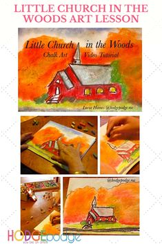 Little Church in the Woods Video Chalk Art Tutorial - Hodgepodge Autumn Art, Chalk Pastels, Chalk Art, Art Tutorials, Wood Art, Art Lessons, Woods, Homeschool, Arts And Crafts