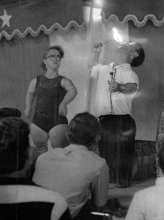 """""""Cliff the Midget Fire Eater"""" and his wife Mamie assists in the act during the 1970 Indiana State Fair as part of Doctor Miracle's Wondercade.  Indianapolis Star file photo"""