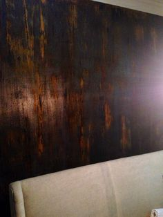 Industrial, faux rust walls I did in my dining room! Photo by my friend Frankie!