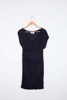 Soft jersey wrap dress in black. The perfect little black dress.