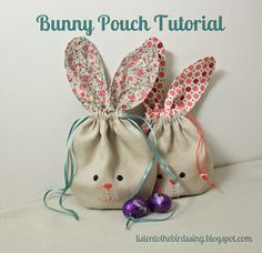 Sewing Bags BUNNY POUCH TUTORIAL What you will need: - 2 fat fabric or 2 pieces of scrap fabric approx. - How to Sew simple Drawstring Bunny Bag. Easter Projects, Easter Crafts, Easter Gift, Fabric Crafts, Diy Crafts, Scrap Fabric, Fabric Dolls, Bunny Bags, Motifs Perler