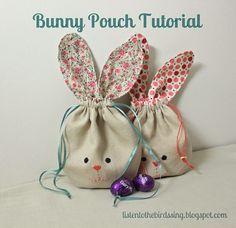Free pattern: Bunny ear drawstring pouch