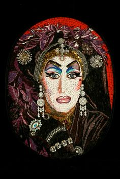 Sister Roma of the Sisters of Perpetual Indulgence SF, by Michael Kruzich, 2011  14″ x 28″  Stone, smalti and crystal rhinestones