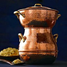 Alphaespace USA: Hand hammer copper pot steamer couscous maker 小龍包 Hand-Hammered Copper Couscoussier - Purchase now to accumulate reedemable points! Revere Ware, Steamer Recipes, Star Magic, Vintage Princess, Marmite, Hammered Copper, Couscous, Healthy Recipes, Healthy Food
