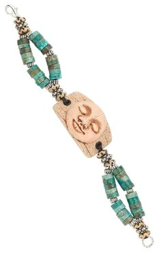 Jewelry Design - Double-Strand Bracelet with Kato Polyclay™ Bead, Antiqued Bone Beads and Turquoise Gemstone Beads - Fire Mountain Gems and Beads