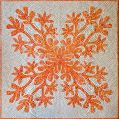 'Naupaka Blossoms,' hand applique & hand quilted, 40 x 40 in. This quilt won Best of Show at the Yuba-Sutter Fair, Quilter unknown. via Quilter's Pastiche Hawaiian Quilt Patterns, Hawaiian Pattern, Hawaiian Quilts, Hawaiian Leis, Hand Applique, Applique Patterns, Applique Quilts, Orange Quilt, Two Color Quilts