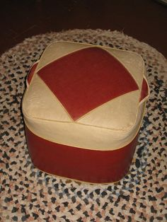 Arts & Crafts Footstool Ottoman Straw Stuffed Red by PiecesOfOlde