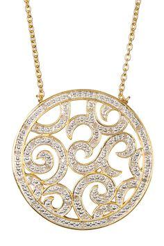 Savvy Cie 18K Yellow Gold Vermeil White Diamond Filigree Medallion Pendant Necklace