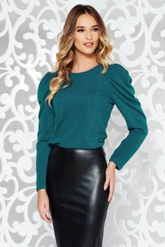 StarShinerS turquoise elegant sweater knitted fabric with puffed sleeves shimmery metallic fabric What Should I Wear Today, October 19, Puffed Sleeves, Product Label, Knitted Fabric, Soft Fabrics, Knitwear, Leather Skirt, Metallic