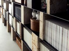 Bookcase made from various Rapolanese travertines and sheet metal. http://www.vaselli.com/en/collections/sider-bookcase