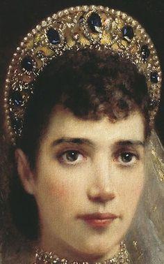 Tiara Mania: Empress Maria Feodorovna of Russia's Sapphire Wave Tiara Royal Crown Jewels, Royal Crowns, Royal Tiaras, Royal Jewelry, Tiaras And Crowns, Russian Fashion, Royal Fashion, Tsar Nicolas, Maria Feodorovna