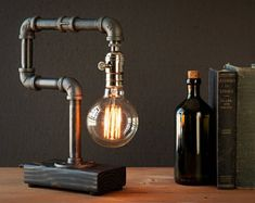 Edison lamp/Rustic decor/Unique Table lamp/Industrial lighting/Steampunk light/housewarming/gift for men/bedside pipe lamp/desk accessories Unique Table Lamps, Rustic Lamps, Bedside Lamp, Desk Lamp, Lamp Table, Lampe Edison, Luminaire Original, Diy Home Decor Rustic, Steampunk Lamp