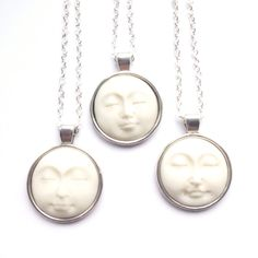 Limited edition - moon face carved bone pendant necklace