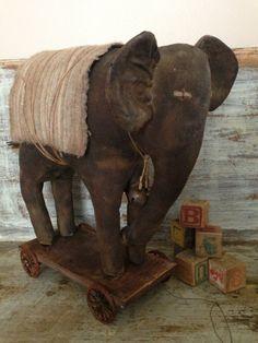 Large oak Primitive Elephant Pull Toy