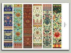 Chinese Pattern Bookmarks Antique Floral Shabby by DigitalCurios