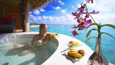 Island Hideaway Dhonakulhi Resort & Spa Maldives : Hideaway Water Suite, Outdoor Deck, and In-Villa Treatment Room