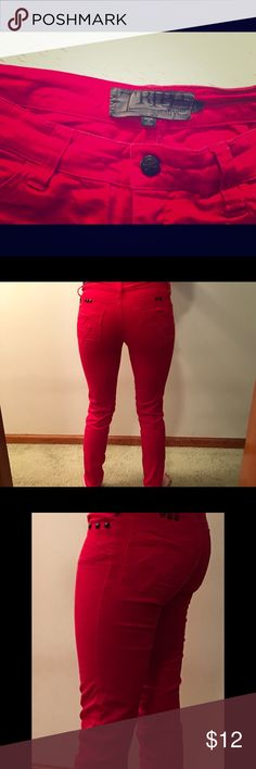 TRIPP NYC size 3 red skinny jeans Used candy red skinny jeans. Size 3. Lightening bolt on each of the back pockets with black assent as noted; there is one missing black ribbit on left back pocket as seen in photos. Tripp nyc Jeans Skinny