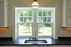 Kitchen window over sink trim 55 ideas for 2019 Wood Window Sill, Interior Window Sill, Window Over Sink, Kitchen Sink Window, Interior Windows, Window Blinds, Window Ledge, Kitchen Sinks, Window Boxes