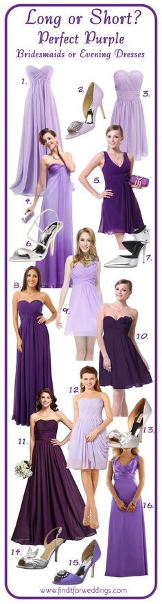 Purple bridesmaid dresses and shoes to match https://www.finditforweddings.com designer bridesmaid shoes wedding shoes Shoemallfashion.com