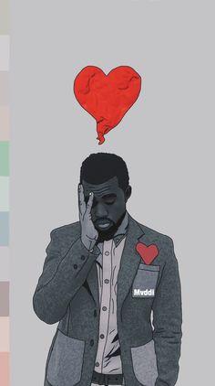Rapper Wallpaper Iphone, Rap Wallpaper, Yeezus Wallpaper, Heartbreak Art, 808s & Heartbreak, Kanye West Tattoo, Kanye West Wallpaper, Kanye West Albums, Kanye West Style