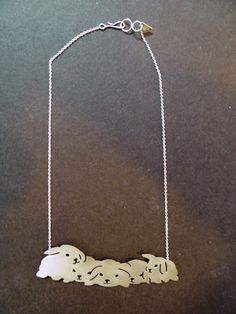 bunny necklace, silver plated.  by maria solorzano jewelry