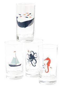 So cute Captain's Lager Glass Set - Multi, Nautical, Print with Animals, Novelty Print, Good