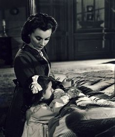 unseen footage.....Vivien Leigh as Scarlett O'Hara with Cammie King as her daughter Bonnie Blue Butler in Gone With The Wind 1939.