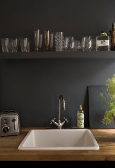 grey kitchen with glass, laviva home