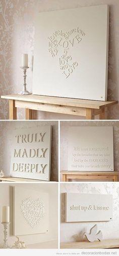 Idea original, decorar paredes con cuadros blancos mensajes de amor