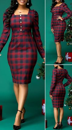 Plaid Print Button Front Square Collar Dress - Source by dresses hijab Latest African Fashion Dresses, African Dresses For Women, Women's Fashion Dresses, Dress Outfits, African Attire, Classy Work Outfits, Classy Dress, Pretty Dresses, Beautiful Dresses