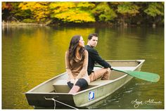 Jennie and Geoff   Row Boat Engagement Session   Fall Engagement Session   http://www.AnyaAlbonetti.com