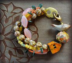 Fly Home Multi Strand Bracelet with Ceramic by LoreleiEurtoJewelry