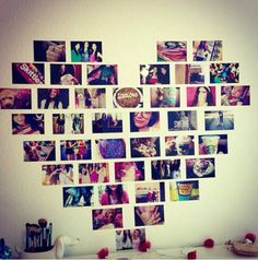 Diy Heart filled with pictures- Just take any pictures and make them into a big heart then put them on your wall! It makes your wall look  not so plain.