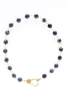 The Woods 16 Inch Lapis Choker with Brass Links and Diamond and Brass Enclosure at ShopGoldyn.com #TheWoods #16Inch #LapisChoker #BrassLinks #Diamond #BrassEnclosure #ShopGoldyn