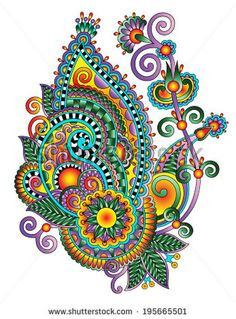 Original hand draw line art ornate flower design Ukrainian traditional style Raster version