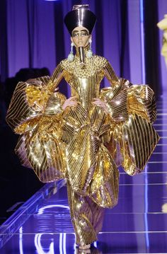 """And from the tombs of Egypt is King Tut's wife in all her finery.""... Galliano TheDinaCollection YossiDina"