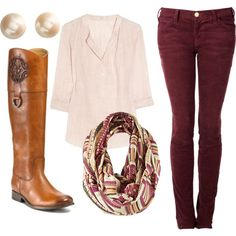 maroon pants with brown riding boots a neutral or cream colored flowy top and a scarf #classy #comfy #cute #fashion