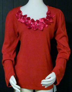 NEW Womens Ladies MERCER STREET Red Floral Trim & Rhinetone Sweater Top XL #MERCERSTREET #Pullover