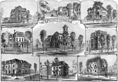 A montage of the spectacular mansions of Prairie Avenue in 1874.