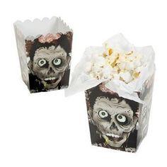 frightening Halloween Zombie Head Mini Popcorn Boxes - 24 Count 7.2