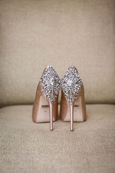 Rose gold embellished pumps: http://www.stylemepretty.com/2017/01/10/one-bride-four-gowns/ Photography: Arrowood - http://arrowoodphotography.com/