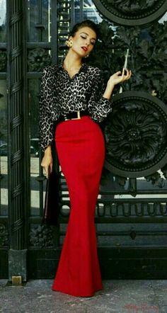 Vermelho com preto, elegante