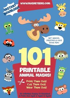 The big book of animal masks is packed with 101 different animal masks to print out and get creative with! All indexed in alphabetical order from the Aardvark to the Zebra so you can find the animals you're after quickly and easily :)It's great for kindergarten teachers and will save you hours in class preparation.