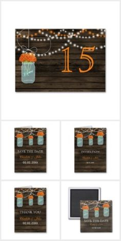 Orange Floral Barnwood mason jar Collection