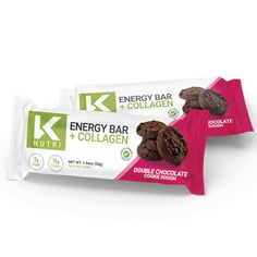 Healthy eating doesn't need to be hard, and it certainly doesn't have to taste bad. Follow these three steps: cut out the bad stuff (refined carbs and sugars), add in good fats (almond butter & MCT oil), and up your protein (collagen). Sound too simple to be true? That's because K Nutri has made the ultimate energy Chocolate Cookie Dough, Double Chocolate Cookies, Melting Chocolate Chips, Sugar Alternatives, Collagen Protein, Mct Oil, Energy Bars, Dessert For Dinner, Good Fats