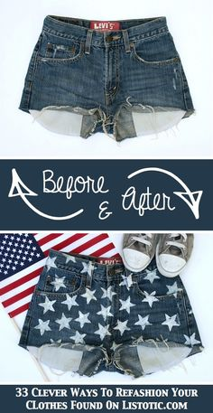 DIY Star Shorts Turn a boring pair of cut-offs into something stylish for Independence Day! Or, any day, really. I saw shorts just like this...