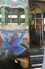 ENTER FRONT (MUNI - BETTER LATE THAN NEVER) Tags: sanfrancisco train vintage subway junk publictransit metro trolley railway muni transit mta passenger masstransit lightrail streetcar trams tramway sfmuni eline spareparts fline marketst pcc derelicts sanfranciscomunicipalrailway sfmta historictrolley munirailway
