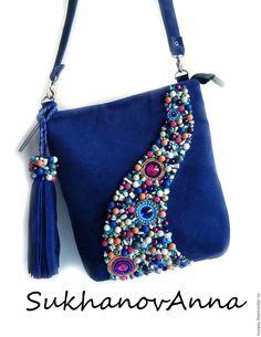 """Купить Сумка """"Морской прибой"""" - синий, сумка синяя, сумка замшевая, сумка из замши"""