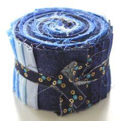 """aq-056-1020 20 x (2,5"""" x 43"""" - ~ 6,35 cm x 110 cm) Jelly Roll - blau - 20 verschiedene Stoffe, Stoffzusammenstellung variiert"""